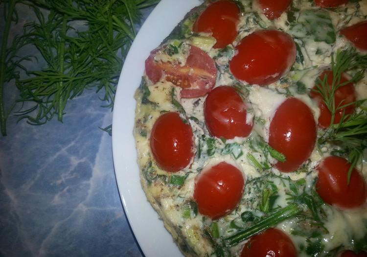 Omlete ar zaļumiem un kama miltiem