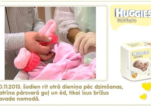 Katrīna aug kopā ar Huggies® Newborn: 2.dzīves diena