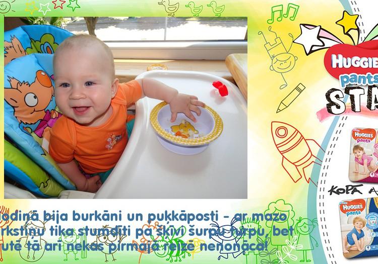 Olivers pirmo reizi mācās ēst pats!