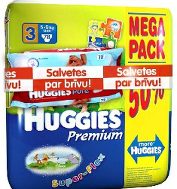 Vasaras akcija! Pērc Huggies Premium mega paku un saņem salvetes par brīvu!