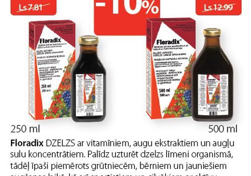 A Aptiekās novembrī 10% atlaide Floradix® dzelzs preparātiem
