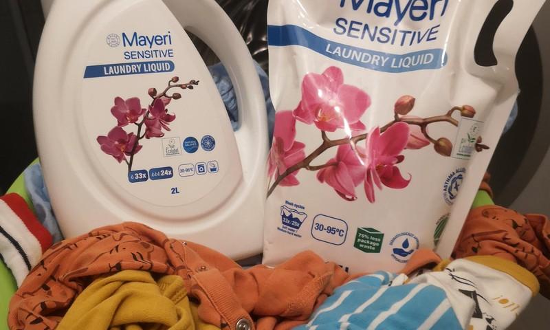 Testējam Mayeri Sensitive šķidro veļas mazgāšanas līdzekli