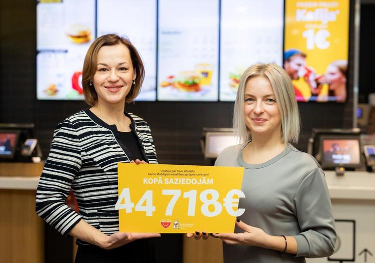 """""""McDonald's"""" bērnu veselības aprūpei Latvijas reģionos savāc 44 000 eiro ziedojumu"""