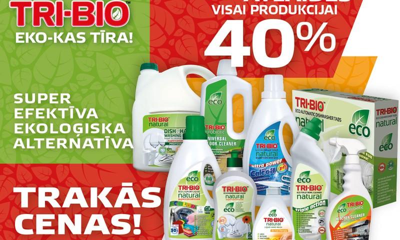 Februārī iegādājies TRI-BIO tīrīšanas un mazgāšanas līdzekļus ar 40% atlaidi! Izmanto iespēju!