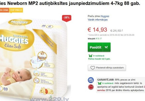 Huggies Elite Soft 2 ar atlaidi 38%