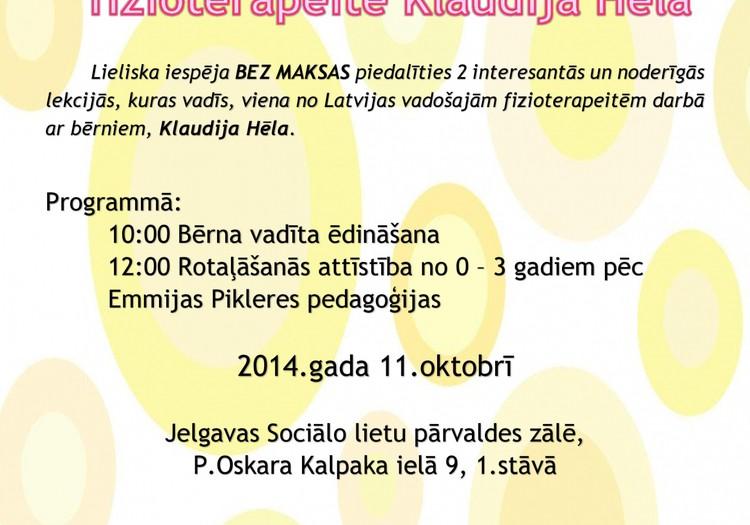 Klaudija Hēla 11.oktobrī Jelgavas māmiņu klubā !!!