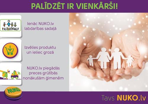 """""""Palīdzēt ir vienkārši!"""" Lielveikals internetā NUKO.lv sadarbībā ar Palidzesim.lv turpina labdarības projektu!"""