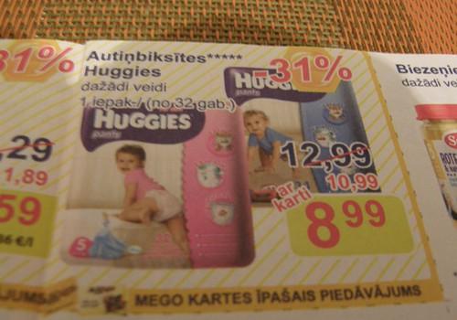 Veikalos Mego atlaides autiņbiksītēm Huggies Pants