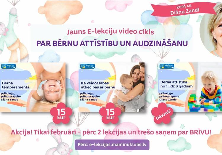 AKCIJA E-lekciju video apmācību ciklam par bērnu attīstību un audzināšanu