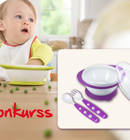 Facebook KONKURSS: Laimē savam mazulim NUK mācību bļodiņu un ēšanas piederumus!